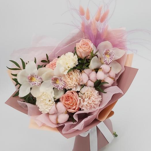 Букет Роз, Хлопка и Орхидеи