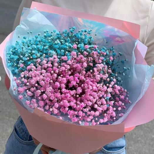 Букет из 7 розово-голубых гипсофил