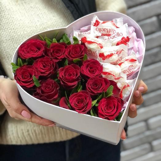 Сердце из красных роз и Рафаэлло  6