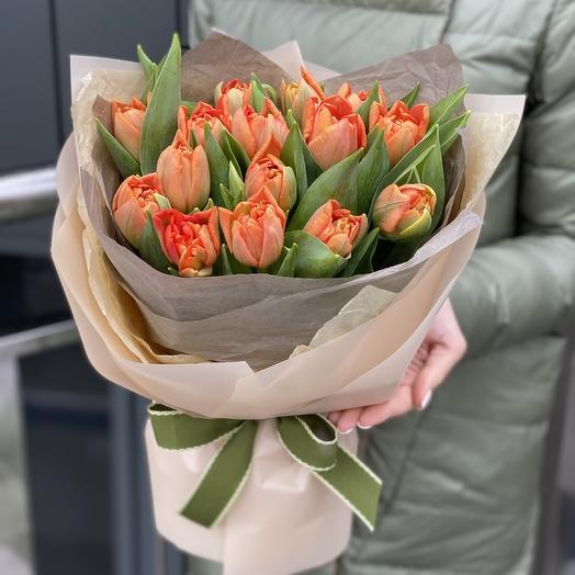 Orange bouquet of peony tulips 15 pieces