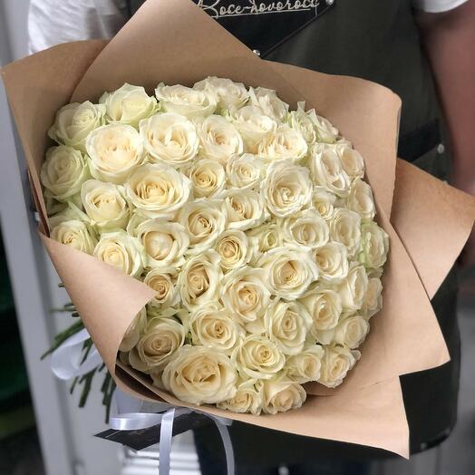 """51 роза """"Аваланж"""" в дизайнерской упаковке"""