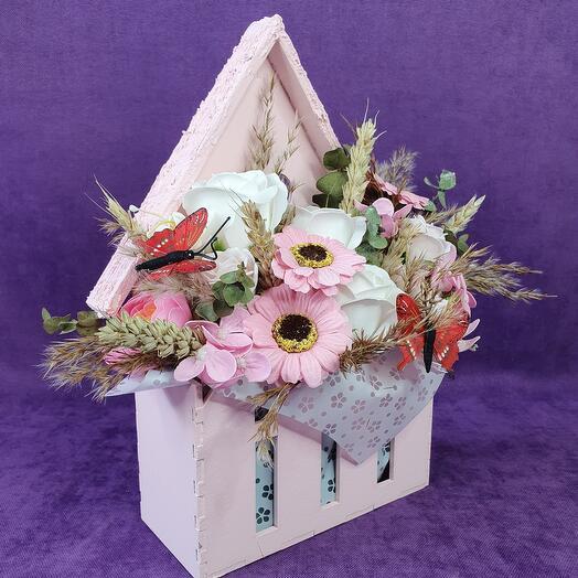 Летняя композиция в конверте- розовая