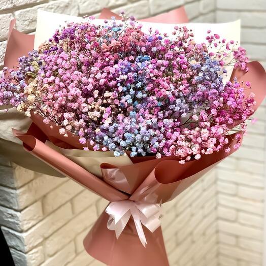 Bouquet of rainbow gypsophila Unicorn