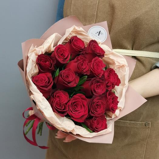 Букет из 15 роз Кения с фисташкой