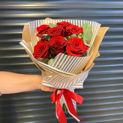 """7 роз """" Красный бархат """""""