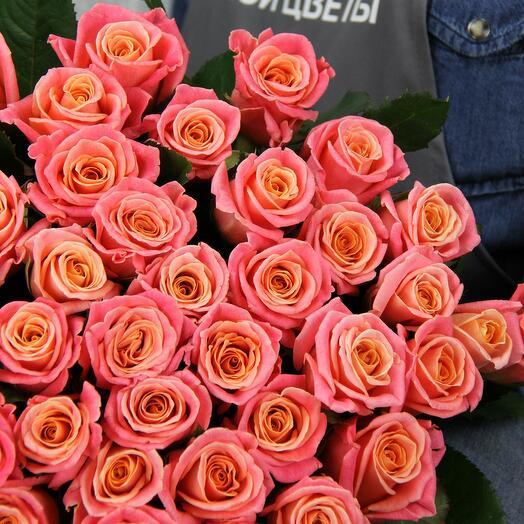 Букет из 21 розы Персиковое наслаждение