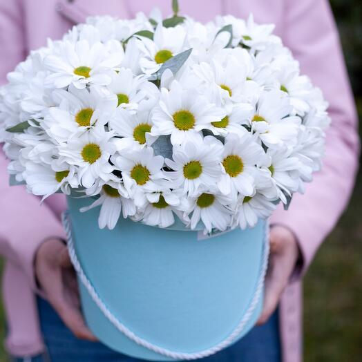 """Hat box with white daisies """"Happy Day"""""""