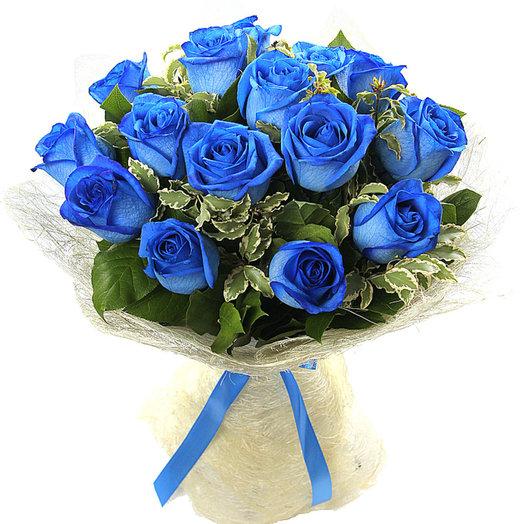 Букет из 15 синих роз СИЗАЛЬ (S4039)