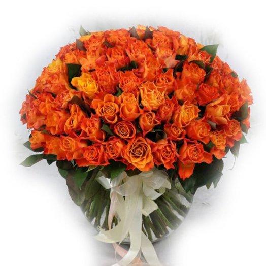 Букет из 101 пестрой розы: букеты цветов на заказ Flowwow