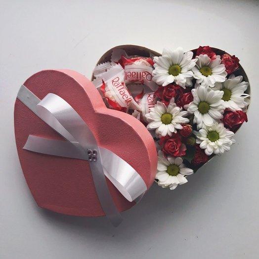 Сердечко с сюрпризом: букеты цветов на заказ Flowwow