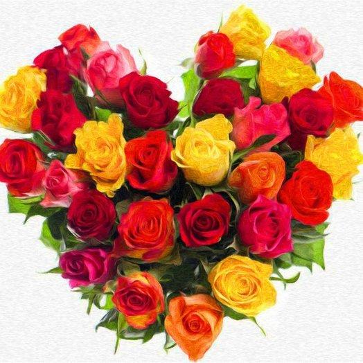 Букет кенийское сердце из 31 розы: букеты цветов на заказ Flowwow