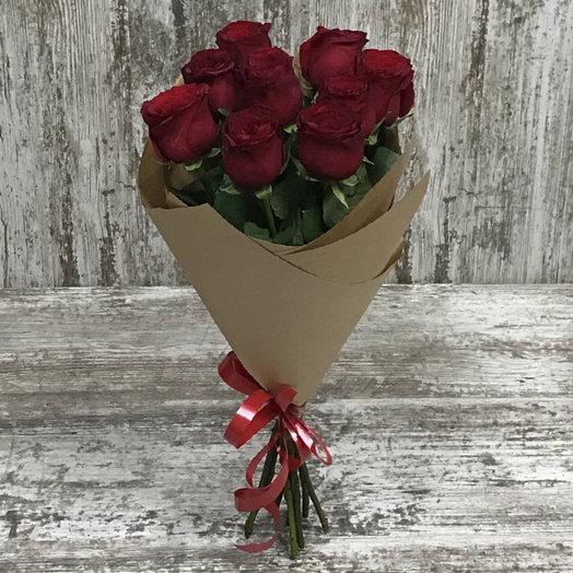 Букет из 9 алых  роз : букеты цветов на заказ Flowwow