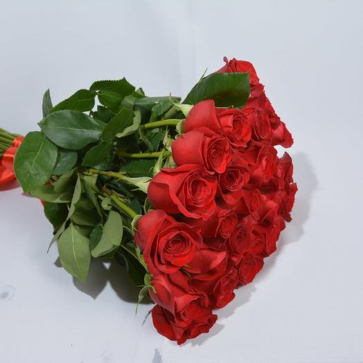25 красных роз высотой 60 см (Эквадор): букеты цветов на заказ Flowwow