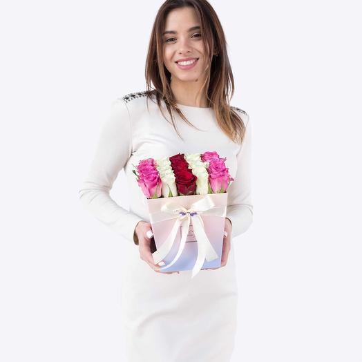 """Букет цветов """"Градиент"""" в коробке: букеты цветов на заказ Flowwow"""