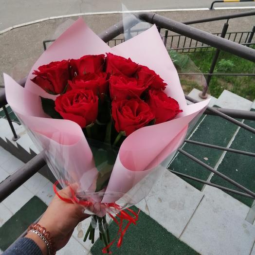 9 красных роз: букеты цветов на заказ Flowwow