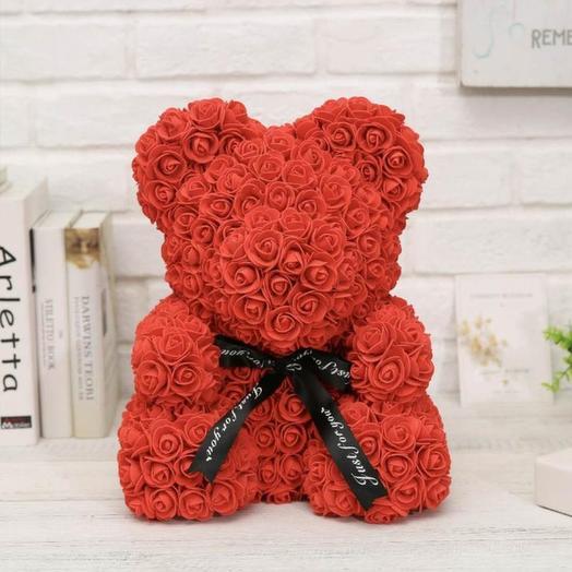 Мишка из 3D роз 40 см: букеты цветов на заказ Flowwow