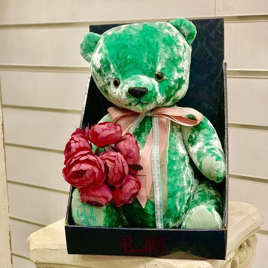 Мишка бархатный мятный с букетом: букеты цветов на заказ Flowwow