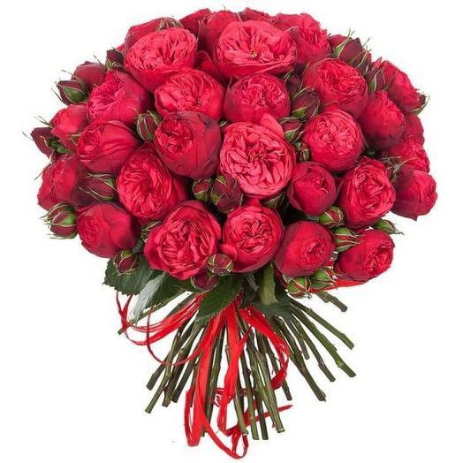 Пионовидные розы 35 шт: букеты цветов на заказ Flowwow
