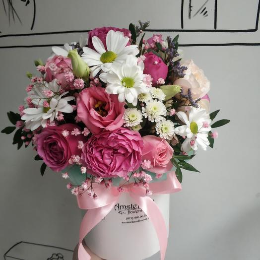 Шляпная коробка с кустовой розой: букеты цветов на заказ Flowwow