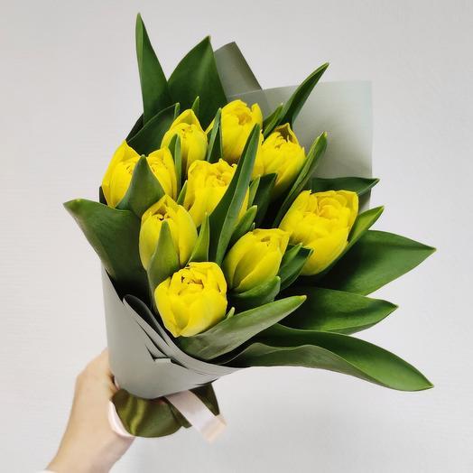 9 пионовидных тюльпана: букеты цветов на заказ Flowwow