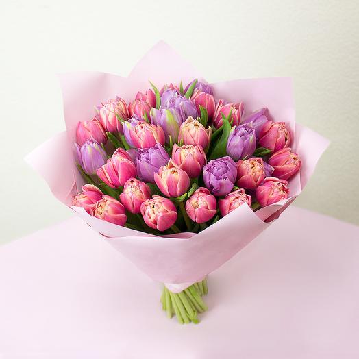 35 пионовидных тюльпанов микс