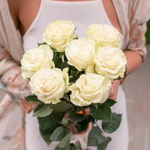 Букет 7 белых роз: букеты цветов на заказ Flowwow