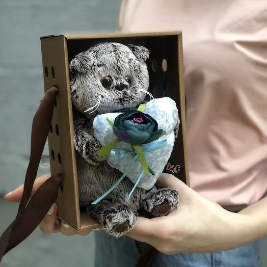 """Мягкая игрушка """"Басик"""" с сердцем из бархата фирмы Budi Basa"""