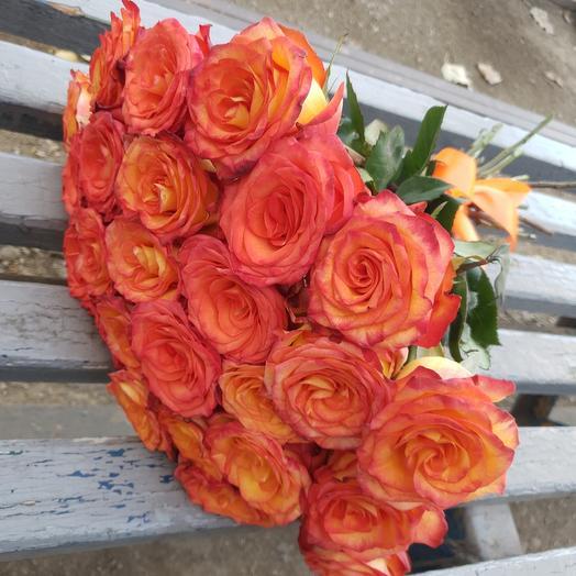 25 роз Хай Мейджик на ленте