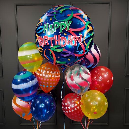 Композиция из шаров серпантин с Большим шаром на День Рождения