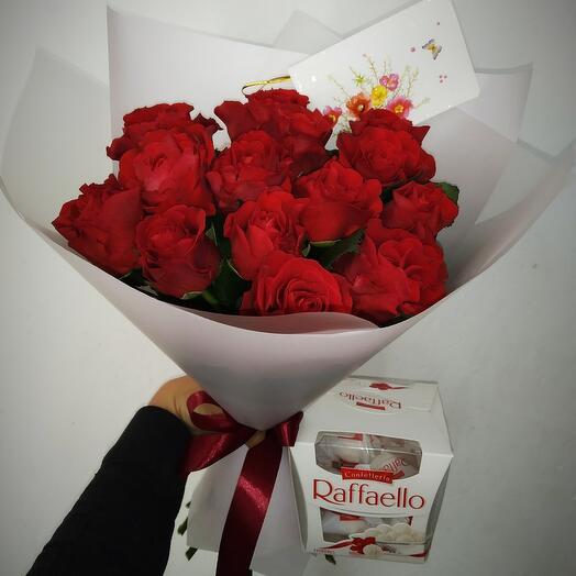 Розы с раффаэлло