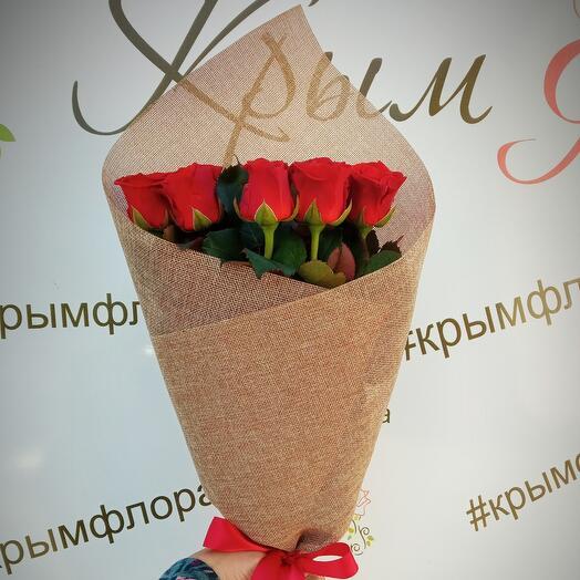 9 роз красных 50 см