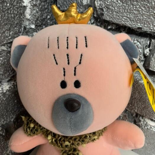 Мишка розовый с короной