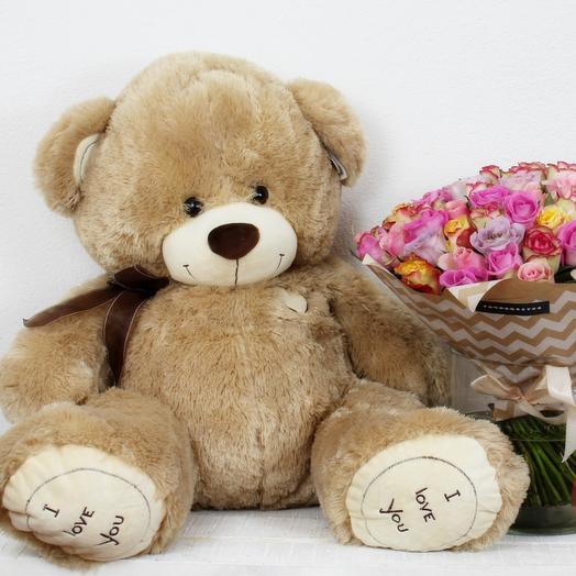Букет 101 кения + Медведь 110 см: букеты цветов на заказ Flowwow