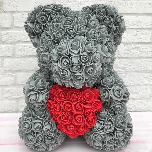 Мишка из роз 40см: букеты цветов на заказ Flowwow