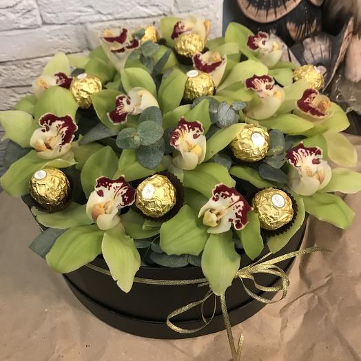 """Коробка """"Сладкая орхидея"""": букеты цветов на заказ Flowwow"""