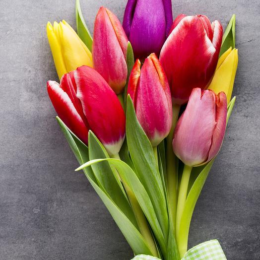9 разноцветных тюльпанов с лентой
