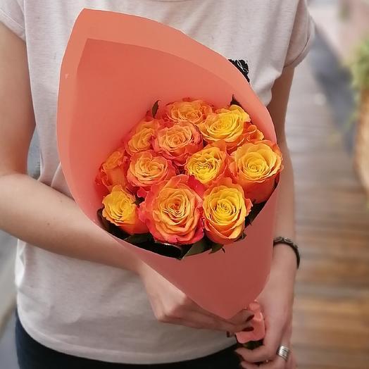 Букет из 11 оранжевых роз: букеты цветов на заказ Flowwow