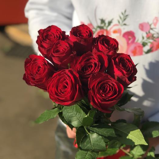 Розы. Букет из 9 кенийских роз. N548: букеты цветов на заказ Flowwow