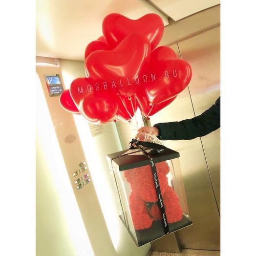 Мишка из роз с сердцами: букеты цветов на заказ Flowwow