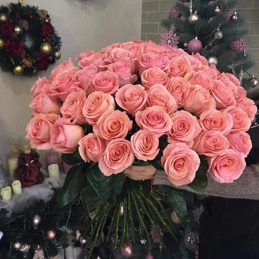Нежно розовые розы 51 шт: букеты цветов на заказ Flowwow