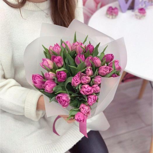 Нежный монобукет из пионовидных тюльпанов: букеты цветов на заказ Flowwow