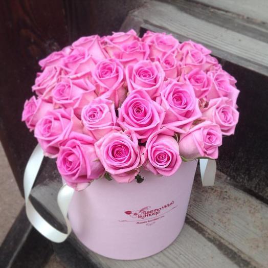 25 Роз в шляпной коробке Лазурное небо: букеты цветов на заказ Flowwow