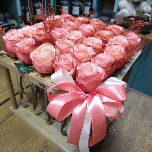 Рамка с 25 оранжевыми розами