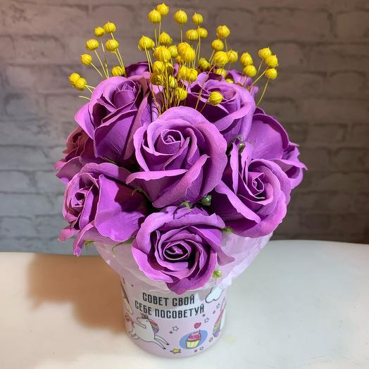 Мыльные розы в кружке «свой совет себе посоветуй»