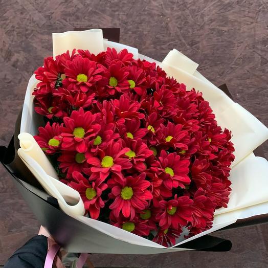 Букет из 11 бордовых хризантем