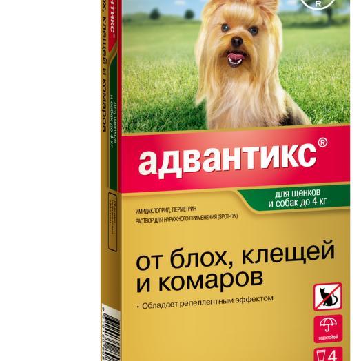 Bayer Advantix капли от блох, клещей и комаров для собак весом до 4 кг 4 пипетки