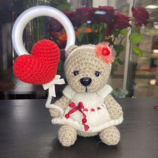 Мишка с сердечком игрушка ручной работы