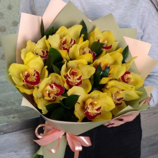 A bouquet of orchids in a stylish design