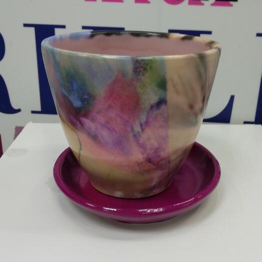Горшок керамика с поддоном 0,4литра