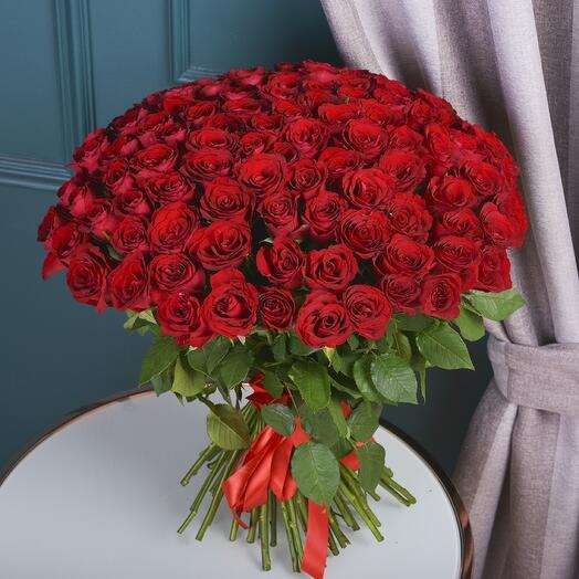 Монобукет 101 Красная роза 60см